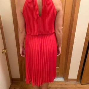 Red crystal pleated dress